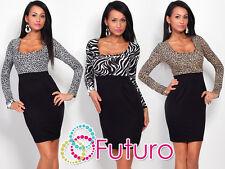 Elegant Women's Square Neck Dress Long Sleeve Bodycon Tunic Sizes 8-18 8456