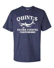 QUINT'S SHARK FISHING Jaws RETRO Amity Heather Navy Men's Tee Shirt 1206
