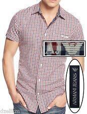 NWT Armani Jeans LOGO Buttoned Pocket Check-Print Shirt Size M