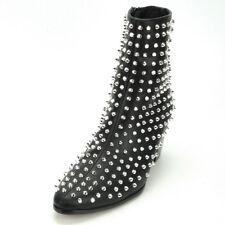 FI-7142 Black Leather Silver Spikes Fiesso by Aurelio Garcia Boot W Side Zi