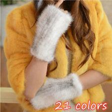 20cm wrist Fingerless Real Mink Fur Knitted Soft Stretch Gloves Mitten