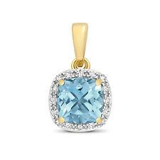 Suizo Topacio Azul y Diamante Colgante Oro Amarillo Collar Tasación Certificado