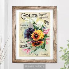 VINTAGE FLOWERS Art Print Poster Victorian Garden Farm Kitchen Cottage Painting