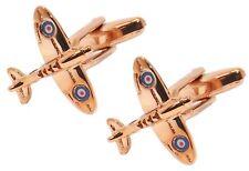 Rose Gold British WW2 Spitfire War Plane Aeroplane Cuff links - CUFFLINKS.DIRECT