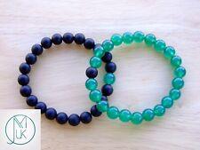 Couple Green Agate/Onyx Natural Gemstone Bracelet 6-9'' Elasticated Healing