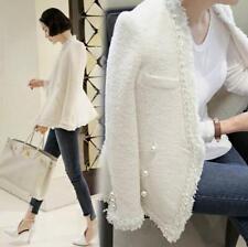 New womens tassel double pearl botton runway party short formal jacket coat Sz
