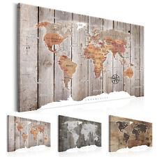 Wandbilder Weltkarte Holz Leinwand Bilder xxl Landkarte Kunstdruck k-C-0050-b-b