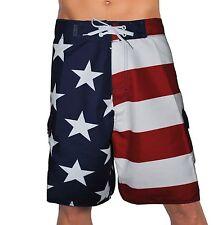 USA AMERICAN FLAG PATRIOTIC BOARD SHORTS FREEDOM ARMY AMERICA SWIM TRUNKS