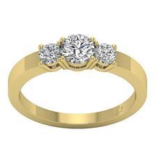 Three Stone Engagement Genuine Diamond Ring 1.01Carat I1 H Prong Set Yellow Gold