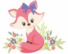 Pinker Fuchs mit Blumen Aufkleber Sticker Autoaufkleber Scheibenaufkleber