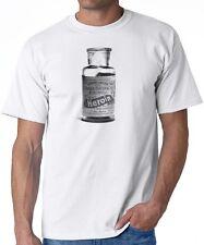 T-SHIRT HEROIN vintage advertisement retro drugs vial opiates bayer