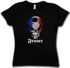 BLACK FOOTBALL SOCCER FRANCE SKULL FLAG DAMEN T-SHIRT Fan Hooligan Frankreich