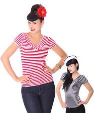 SugarShock 50 S Retro Pin Up bandes Sailor V-Neck Shirt