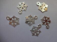 25 o 50 Argento Brillante Scintillante Tibetano fiocco di neve Ciondoli Ciondoli 16mm x12mm