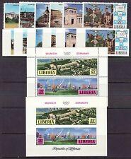 Liberia # 557-62 & C187 Perf & Imp MNH Munich Germany Olympics