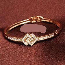 Jonc Bangle Bracelet cristal autrichien Losange doré à l'or fin et zirconium