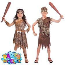 Boys Girls Caveman Costume Prehistoric Stone Age Fancy Dress Outfit Kids Tarzan