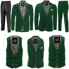 Mens Green Velvet Vintage 3 Piece Suit Tuxedo Blazer Coat Waistcoat Trouser
