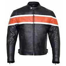 Men's Classic Leather Motorcycle Jacket with CE Body Armor Orange Stripe MBJ001