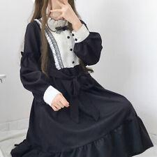 Lady Girls Loose Lolita Dresses Long Sleeve Japan Style Kawaii Preppy Fairy Chic