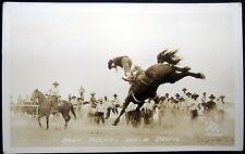 *1930's Cowboy Rodeo ~ Burt Mulkey Thrown Off A Bronc ! Real Photo Pc Rppc