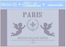 Schablone-Vintage-Shabby-A4-A3-Weihnachten-Engel-VINTAGE ANGELS-7039