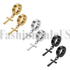 Men Women Stainless Steel Cross Dangle Sleeper Snap Closure Hoop Huggie Earrings