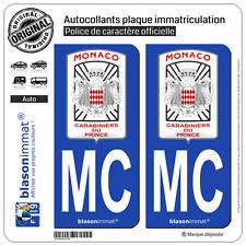 2 Stickers autocollant plaque immatriculation : MC Monaco - Garde Monégasque