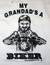 Kids Baby Children's Motorcycle Slogan T-Shirts - My Grandad's A Biker White T