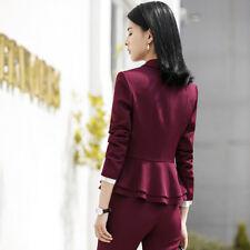 Tailleur completo donna rosso giacca a manica lunga e pantalone slim cod  7152 50cf708397c
