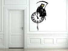 Banksy Style Grim Reaper Death On A Clock Graffiti / Large Vinyl Wall Stickers