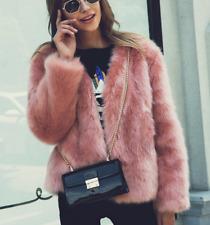 Streetwear  womens faux fur jacket winter pink short fur jacket coat outwear