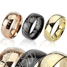 Herren Damen Ring aus Edelstahl IP Elbenschrift Lord Ring Gold Rosegold Schwarz