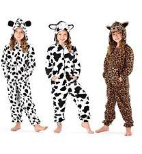 Kids Girls Hooded Fleece All In One Pyjamas Onesie Nightwear Jumpsuit FREE POST