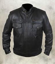 La mode pour homme 100% réel moutons en cuir bomber / veste de motard 6 poches avant