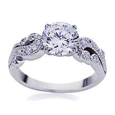4mm Platinum Plated Sterling Silver 2ct CZ Vintage Wedding Engagement Ring set