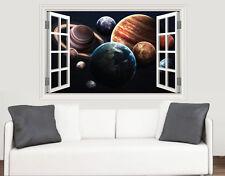Chiudere Finestra del sistema solare scena Muro ARTE Adesivo Vinile Murale Trasferimento pianeti