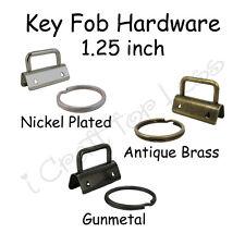 "100 - 1.25"" Key Fob Hardware w/ Key Rings - Pick Finish - for Making Wristlets"