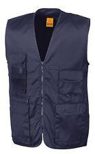 Result Cotton Twill MIDNIGHT NAVY BLUE Safari Waistcoat Gilet Vest 11 Pockets