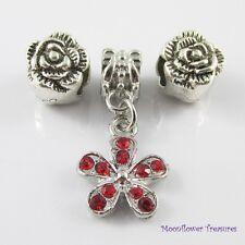 Flowers Bead & Charm Gift Set fit European Charm Bracelet Select Colour