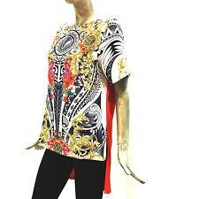 Versace Collection Maglia Lunga Donna Arancione Fantasia Tunica Shirt 33455