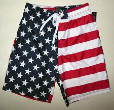 NWT FADED GLORY AMERICAN FLAG FOURTH OF JULY SWIM TRUNK BOARD SHORTS sz S M L XL