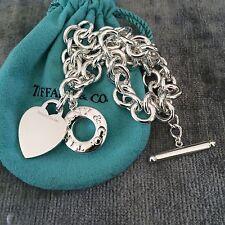 Tiffany & Co Silver Toggle Heart Tag Necklace Donut Lifesaver