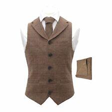 Luxury Herringbone Brown Tweed Waistcoat with Lapel & Matching Tie & Pocket Squa