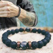 Men Bracelet Natural Moonstone Bead Tibetan Buddha Bracelet chakra Lava Stone