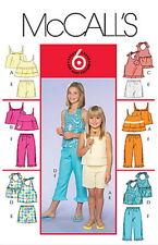 McCalls M5036 Girls Top Shorts Capri Pants Sewing Pattern