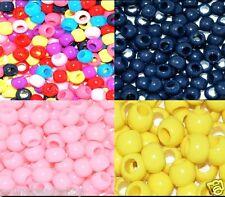 100 pcs plastic pony beads, round, assorted colour, 8 x 6 mm*