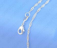"""Onda de agua plateado 1 mm 925 Estampado Serpiente Cadena Collar Colgante 16-30""""T de Singapur"""