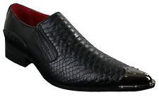Para Hombre Zapatillas de vaquero occidental señaló metal del dedo del pie Cocodrilo Cuero Texturado Negro
