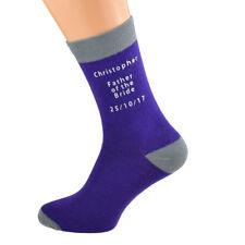 Violet & Gris Mariage Rôle Adulte Chaussettes avec personnalisée nom et date-X6N690